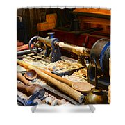 The Woodworker Shower Curtain by Paul Ward