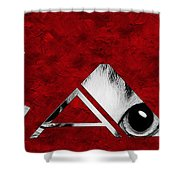 The Word Is Cat Bw On Red Shower Curtain by Andee Design