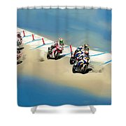The World Super Bike Grid Shower Curtain