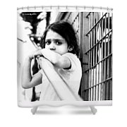 The Worried Little Girl Shower Curtain