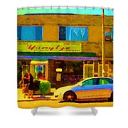The Yangtze Chinese Food Restaurant On Van Horne Montreal Memories Cafe Street Scene Carole Spandau  Shower Curtain