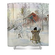 The Yard And Wash House Shower Curtain by Carl Larsson