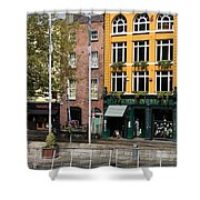 The Yellow House At The Liffey River - Dublin - Ireland Shower Curtain