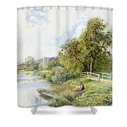The Young Angler Shower Curtain
