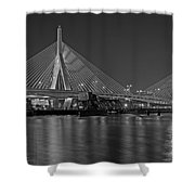 The Zakim Bridge Bw Shower Curtain