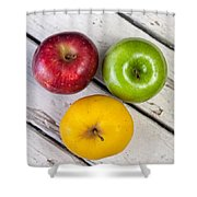 Thee Apples On A Table Shower Curtain