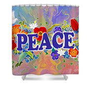 Themes Of The Heart-peace Shower Curtain