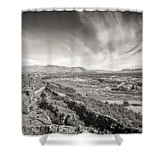Thingvellir Iceland Black And White Shower Curtain