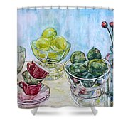 Thinking Of Cezanne Green Shower Curtain