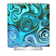 Turquoise  - Satin Swirls Shower Curtain