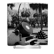 Thirteen Inch Mortar Shower Curtain