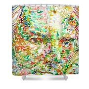 Thomas Bernhard Watercolor Portrait Shower Curtain