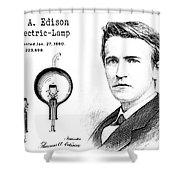 1880 Thomas Edison Electric Lamp Patent Art 2 Shower Curtain