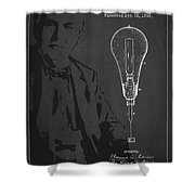 Thomas Edison Incandescent Lamp Patent Drawing From 1890 Shower Curtain