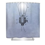 Thomas Edison Electric Lamp Patent Shower Curtain