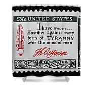 Thomas Jefferson American Credo Vintage Postage Stamp Print Shower Curtain