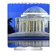 Thomas Jefferson Memorial At Night Reflected In Tidal Basin Shower Curtain