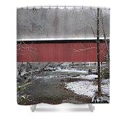 Thomas Mill Covered Bridge Along The Wintery Wissahickon Shower Curtain