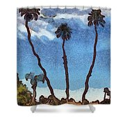 Three Abstract Palm Trees  Shower Curtain