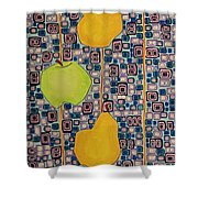 Three Apples Beat Two Pear Shower Curtain