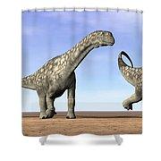 Three Argentinosaurus Dinosaurs Shower Curtain by Elena Duvernay