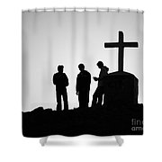 Three At The Cross Shower Curtain