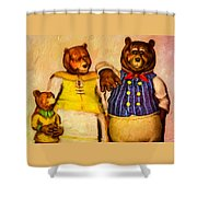 Three Bears Family Portrait Shower Curtain