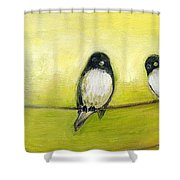 Three Birds On A Wire No 2 Shower Curtain