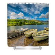 Three Boats Shower Curtain by Adrian Evans