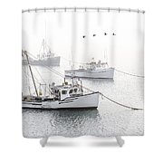 Three Boats Moored In Soft Morning Fog  Shower Curtain