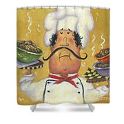 Three Bowl Chef On Gold Shower Curtain