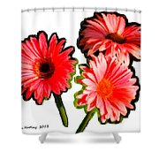 Three Bright Red Flowers Shower Curtain