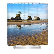Three Brothers Rock Formation Near The Oregon Coast Shower Curtain