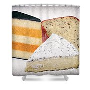 Three Cheese Wedges Distressed Shower Curtain