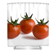 Three Cherry Tomatoes Isolated Shower Curtain