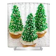 Three Christmastree Cupcakes  Shower Curtain