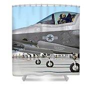 Three F-35b Lightning IIs At Marine Shower Curtain