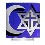 Three Faiths Shower Curtain