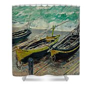 Three Fishing Boats Monet 1886 Shower Curtain