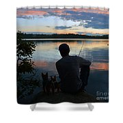 Three Fishing One Pole Shower Curtain