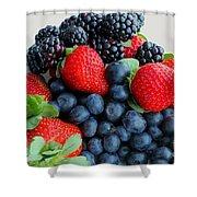 Three Fruit 2 - Strawberries - Blueberries - Blackberries Shower Curtain