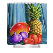 Three Fruits And A Vegetable Shower Curtain