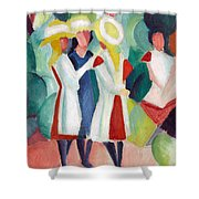 Three Girls With Yellow Hats Shower Curtain