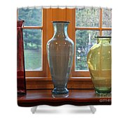 Three Glass Vases In A Window Shower Curtain