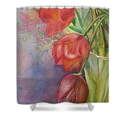 Three In A Vase Shower Curtain
