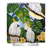 Three Is A Crowd Hand Embroidery Shower Curtain
