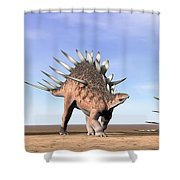 Three Kentrosaurus Dinosaurs Standing Shower Curtain by Elena Duvernay