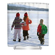 Three Kids Heading Out To Ice Skate Shower Curtain