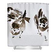 Three Little Birds Perch By My Doorstep Shower Curtain