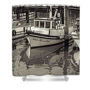 Three Little Boats Sepia Shower Curtain